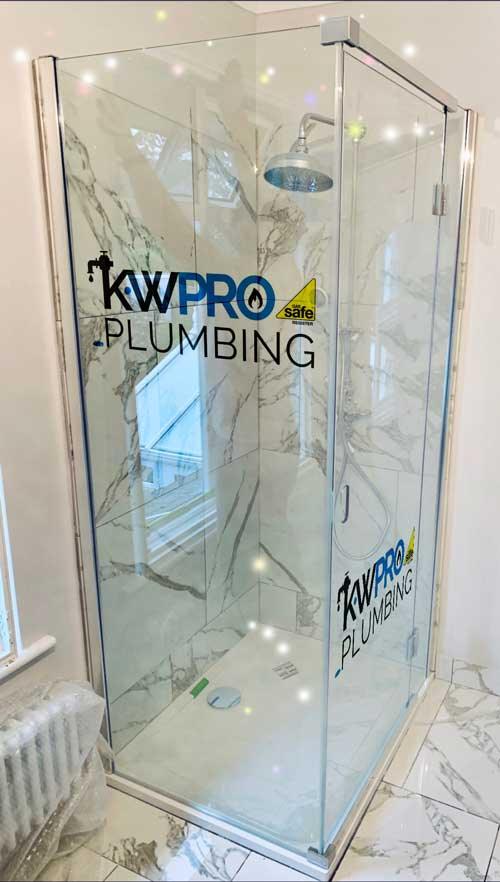 kw pro glass shower cubicle in showroom